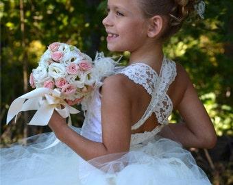 Vintage Dress Ivory Dress Lace Dress Flower Girl Dress, Wedding Dress Baby Dress Toddler Tutu Dress Girls Dress Birthday Dress Party Dress