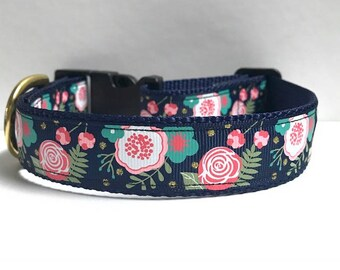 "1"" Floral & gold dots collar"
