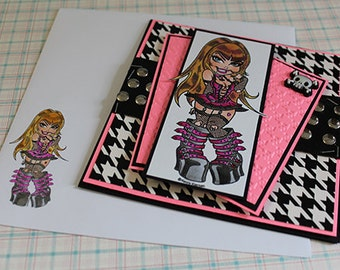 Punky Pinup - Handmade Greeting Card