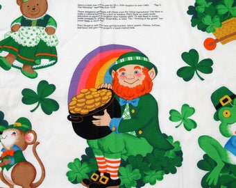 Top O' the Morning St Patrick's Day Applique Craft Panel, Lephrechaun, Luck of the Irish, Four Leaf Clover, St. Patrick's Day Crafting Panel