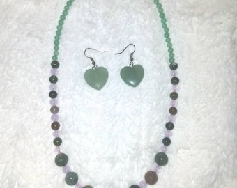 Jade heart necklace and earings.