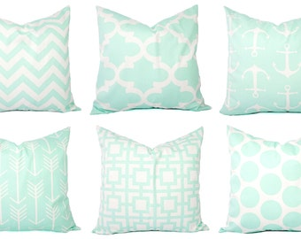 Mint Pillow Covers - Mint Green and White Throw Pillows - Decorative Pillows - Mint Euro Sham - Mint Throw Pillow - Mint Lumbar Pillow