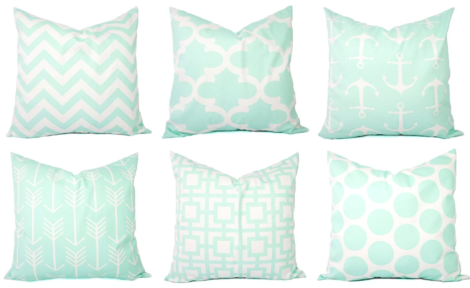 Ultrasoft Euro Square Decorative Sham Pillow White : Mint Pillow Covers Mint Green and White Throw Pillows