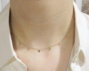 14k Yellow Gold Circle Necklace, 14k Circle Necklace, 14k coins necklace, 14k disc necklace, 14k circle pendant, 14k layer necklace