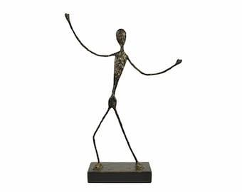 Abstract Modern Faux Bronze Figure Wire Sculpture Art