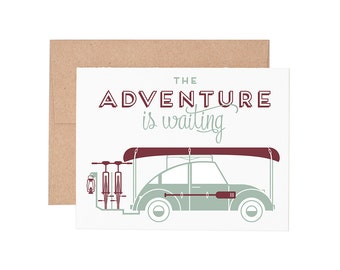 Adventure Is Waiting Letterpress Greeting Card - Blank Card | Retirement Card | Graduation Card | Congratulations Card | Greeting Cards