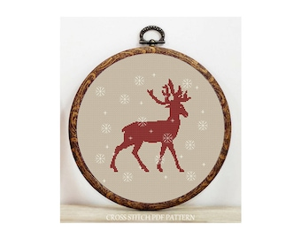 Christmas Deer-Cross Stitch Pattern-Modern Sampler-Pdf-Instant Download