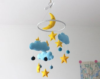 Starry Night Mobile - Blue Night Clouds Moon Stars Felt Mobile Baby Kid Sky Mobile Nursery