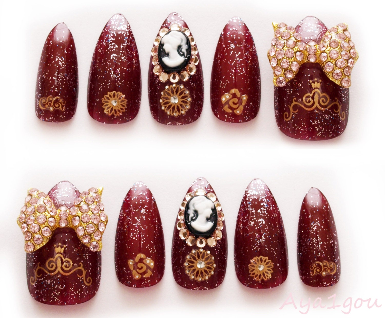 Stiletto nails lolita accessory winter nail 3D nails
