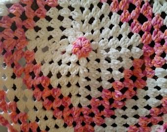 Baby Blanket Pink Crochet - Infant Blanket, Stroller Blanket, Minky Blanket, Baby Girl Blanket, Baby Shower Gift, Crochet Blanket, Baby Girl
