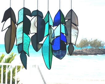 Stained Glass Feather Collection - Eleuthera Beach Palette