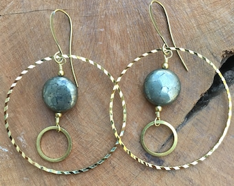 Pyrite and brass ring earrings