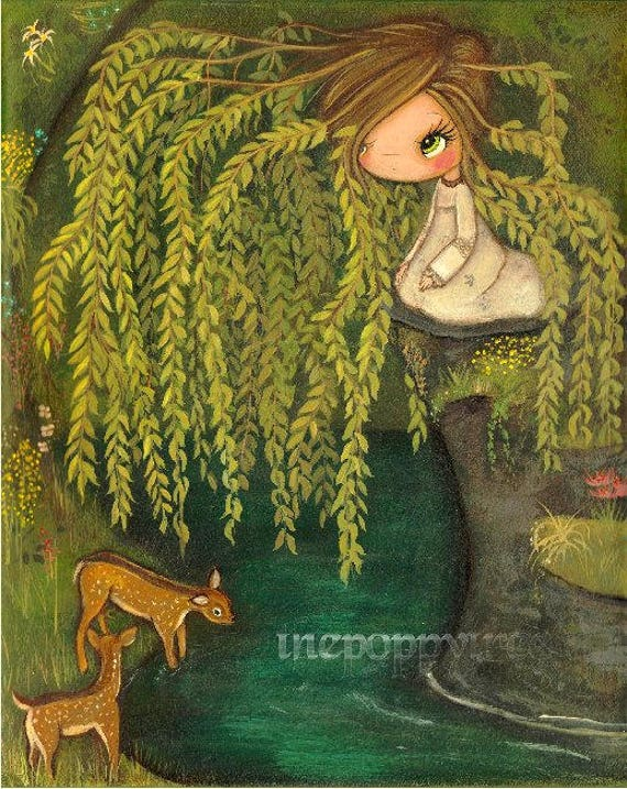 Weeping Willow Print Tree Deer Flower Spring Girl Pond Nature