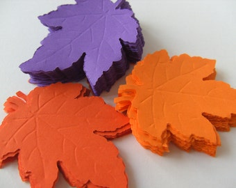 72, orange and purple, Paper leaves, Leafs, leaves, Autumn, Fall, embellishment, Scrap booking,  by DoodleDee2 on etsy
