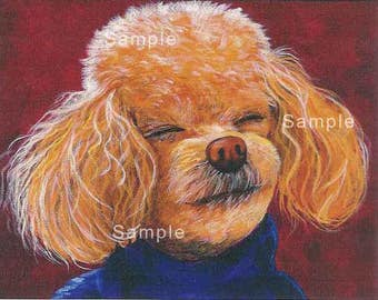Apricot Poodle Smiling Portrait Colorful Note Cards Set of 6