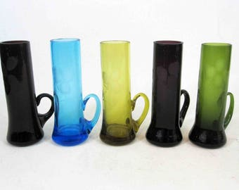 "Vintage Multi Colored Etched Cordial Glass Set of 5. Made in ""Korea"". Circa 1950's - 1960's."