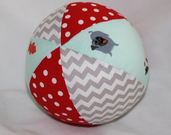 Pugs and Kisses Fabric Boutique Ball Rattle Toy