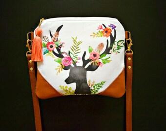 Floral deer head crossbody bag, fall crossbody purse,genuine leather,flannel bag,deer crossbody purse, deer bag, fall bag, deer purse, fall