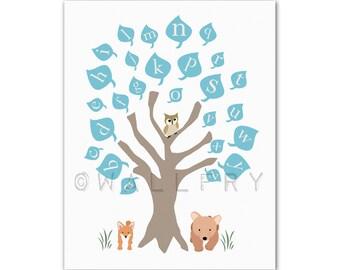 Alphabet Poster art. ABC nursery decor. Baby nursery print, woodland owl art print, childrens art. ABC print