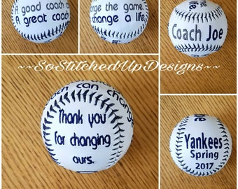 Embroidered Baseballs for the Coach!  Great Thank you gift for those exceptional Coaches! Coaches Gifts, Personalized Baseballs