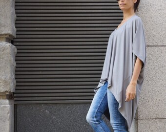 New Oversized Loose Extra Large Light Grey Blouse / Asymmetric Tunic Top A01103