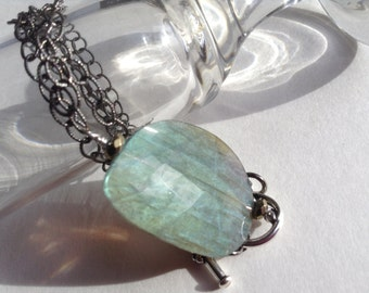 Faceted Blue Gray Semiprecious Natural Stone Labradorite Pendant on Italian Oxidized Silver Chain Necklace--Rocking It l--by Lady Grey Beads