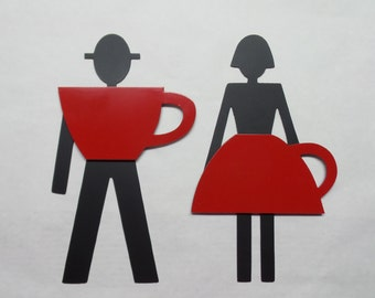 Man Woman Metal Sign  Metal Bathroom Sign  Coffee Shop Restroom Sign    Restroom Door