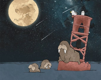 Walrus Family and Moon Art Print