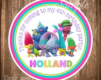 Trolls Stickers, Printable Trolls Stickers, Trolls Birthday Party, Digital Trolls Stickers or Gift Tags