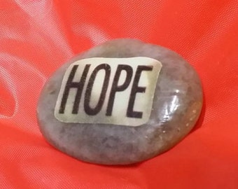 HOPE Stone - Hand-Decorated River Rock. Inspirational Decoupage.