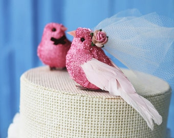 Pink Love Bird Wedding Cake Topper in Tinsel: Vintage-y Bride & Groom