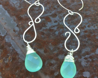 Faceted Seafoam Chalcedony Teardrop Briolettes Dangle Earrings.  SFCBDE15  Sundance Style Boho Jewelry
