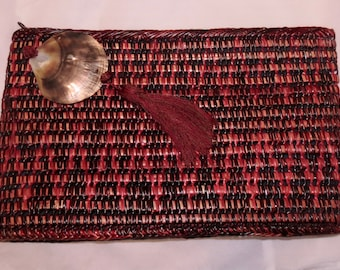Vintage Red Multicolor Woven Clutch - Mister Ernest Philippines - 1980s