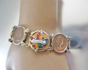 1956 Coin Bracelet Canadian Penny 1Cent Copper Link Bracelet Enamelled Maple Leaf Montreal Center Snap Clasp Vintage