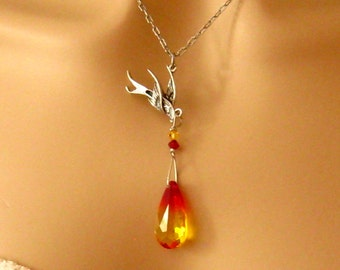 Phoenix bird necklace pendant jewelry rising gold plated phoenix necklace antiqued silver phoenix bird and fire opal swarovski crystal phoenix pendant necklace mozeypictures Gallery