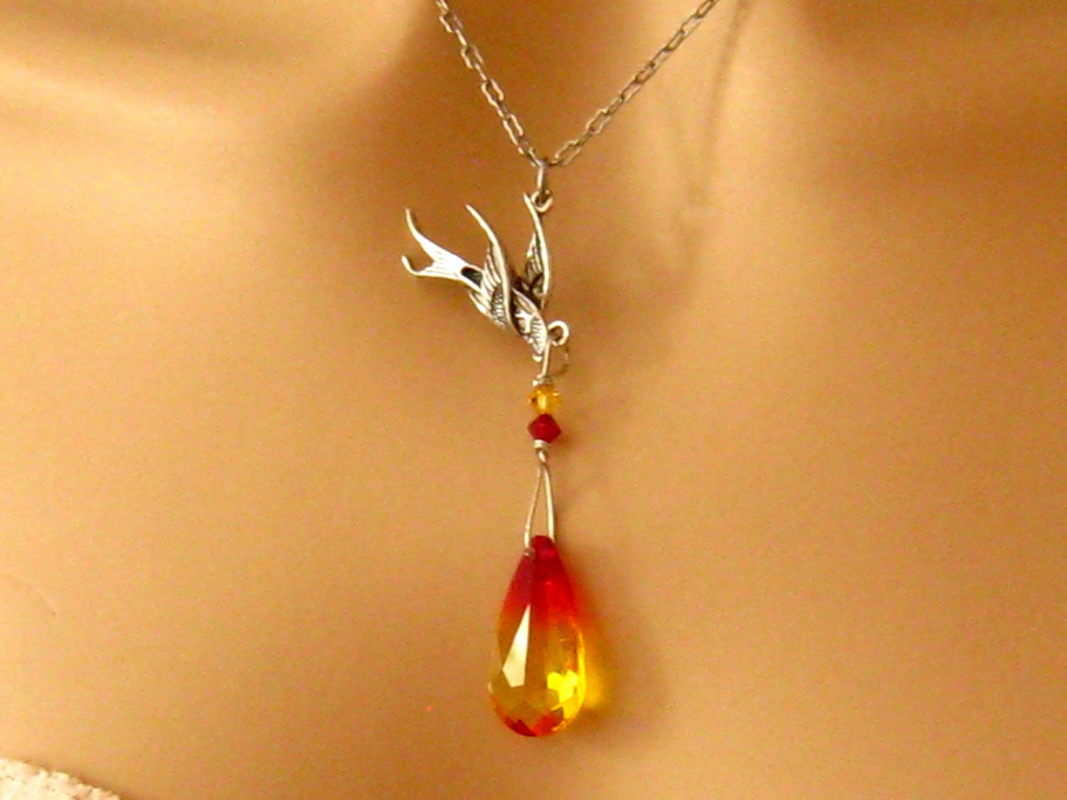 Phoenix necklace antiqued silver phoenix bird and fire opal zoom mozeypictures Image collections