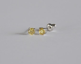 Sparkling Sterling Silver Little Girls Stud...Girls CZ Stud Earring...Girls Stud Earring... Noveber Birthstone...Free Shipping!!