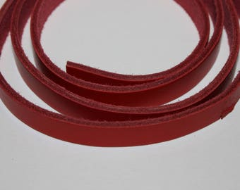 Red flat leather cord, 1 * 20cm