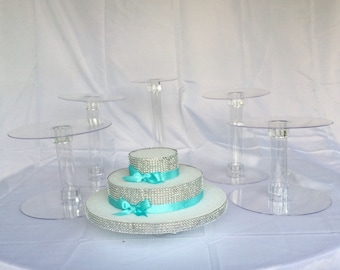 5 Cake Stand Set for Wedding Cake Displays 2 inch gap / Cup cake Acrylic Cascade Towers Crystal Clear