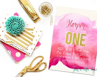 1st Birthday invitation, Pink and Gold invitation, Printable ONE birthday invite, Water color invitation
