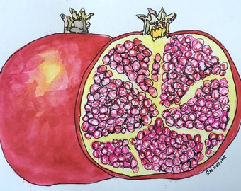 Pomegranete and a Half Original 5x7 Watercolor & Ink painting by Nan Henke