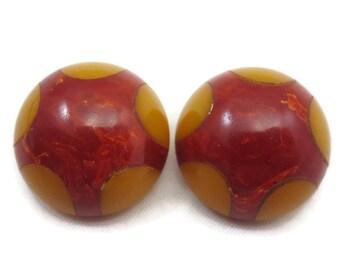 Vintage Bakelite Earrings - Red Bakelite Yellow Polka Dots, Clip Earrings Vintage Earrings for Women