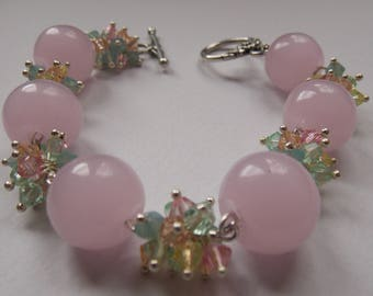 Spring bracelet Quartz Rose and Swarovski beads