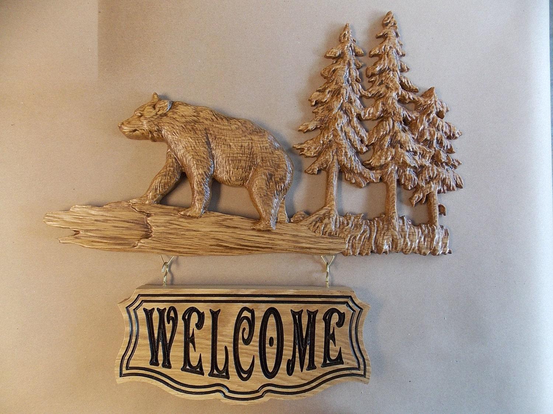 Bear Welcome Sign Rustic Cabin Decor Bear Wood Bear Wall