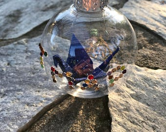 Sparkling Crystal Origami Crane Ornament
