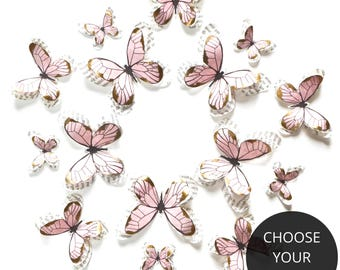 Blush pink and gold butterflies, pink and gold baby shower decorations, blush pink and gold wedding decor, first birthday decoration