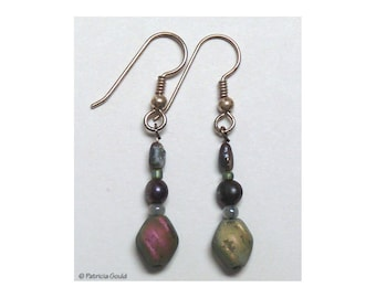 EA20 - Earrings - Czech glass, Fresh water pearls,  and sterling wires - one of a kind by Patricia Gould