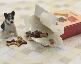 Miniature OOAK hand carved wood tiny Husky puppy in a little biscuit box dog breed pet  by IGMA Fellow Linda Master Miracle Chicken