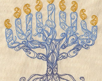 Delicate Menorah Embroidered Flour Sack Hand/Dish Towel