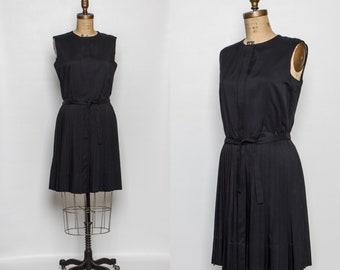 vintage 1950s little black dress | 50s pleated dress with belt by Hadley